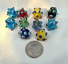 Lampwork Bumpy Beads Lot of 10 Multi Colors Large 19mm X 19mm Oval Pear shaped