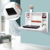 Wall Mounted Laptop Desk Wooden Drop-Leaf Table with Storage Drawer&Shelves