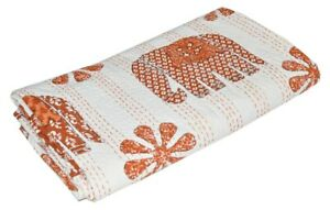 Indian Handmade Elephant Design Queen Cotton Kantha Quilt Throw Blanket Gudari