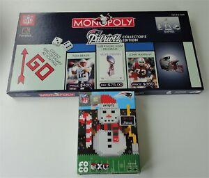 2 New England Patriots 2003 Monopoly Collector's Ed & FOCO BRXLZ 654 Pc Snowman