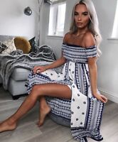 Ladies Women's Floral Print Bardot Shiring Slit Detail Maxi Dress 6 8 10 12 14