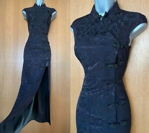 KAREN MILLEN UK 8 Vintage Black Brown Jacquard Satin Oriental Style Maxi Dress
