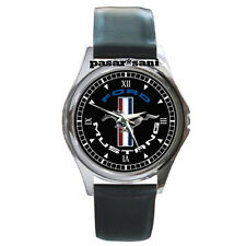 NEW FORD MUSTANG RUNNING PONY Custom Round Metal Leather Men's Watch Watches