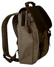 Leather & Canvas BROWN & TAN Backpack COMPUTER BAG w/handle Heavy Duty NEW