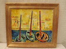 Max ZOLLIKOFER . Bateaux au port 1963 tableau HsP 38x46 cadre  50 x 58 cm