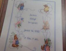Beatrix Potter Birth Sampler 1 Cross Stitch Jemima Puddleduck Bunny Book 550