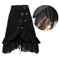 Sexy Womens Gothic Steampunk Black Lace Skirt Party Club Lolita Rock Dress Wear