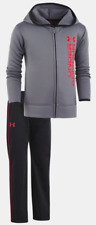 Under Armour Boys 24M Roster Hoodie Tracksuit Jacket Pant Set Graphite/Black NWT