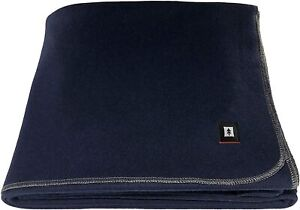 "EKTOS 100% Wool Blanket, Navy Blue, Warm & Heavy 5.5 lbs, Large Washable 66""x90"""