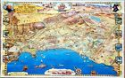 1954 Southern California Map Roads to Romance San Diego Malibu Los Angeles EXRAR