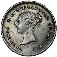 1838 TWOPENCE 2d - VICTORIA BRITISH SILVER COIN - NICE