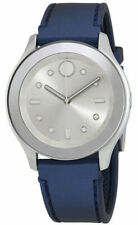 Movado 3600427 Bold Silver White Accents Blue Rubber Band 38mm Authentic