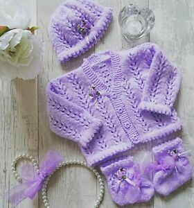 Baby Knitting Pattern sk instructions Girls Cardigan Hat booties set evelyn