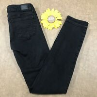American Eagle Womens Skinny Jeans Size 2 Super Stretch Black Denim cs373