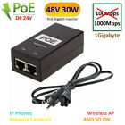 POE Injector 48V 30W PowerOver Ethernet Adapter For IP Phone Camera IEEE 802.3af