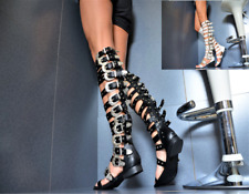 Damen Schaftsandaletten Cut Out Sandaletten Stiletto High Heels 822800 Top