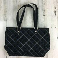 Vera Bradley Tote Bag Black Quilted Blue Contrast Stitch Zipper Purse