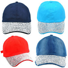 Fashion Women's Men's Rhinestone Baseball Cap DIY Bling Visor Denim Tennis Hats
