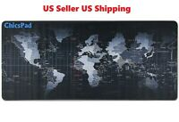 """New Extended XL Gaming Mouse Pad 31.5"""" X 11.8""""W  Desk Keyboard World Map"""
