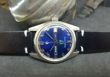 RARE VINTAGE 70'S RADO GREEN HORSE DATE BLUE DIAL AUTO MAN'S WATCH
