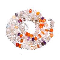"Natural Carnelian & Crystal Gemstone 925 Sterling Silver 18"" Strand Necklace BN-"