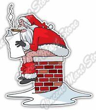 "Bad Santa Poop Chimney Merry Christmas Joke Car Bumper Vinyl Sticker Decal 4""X5"""