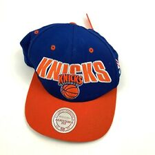 VINTAGE Mitchell & Ness NEW YORK KNICKS Hat Cap Wool Blue Orange NBA Basketball