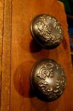 Pair Ornate Victorian Metal Door Knobs Hardware