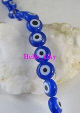 3 Strands Blue lampwork glass beads flat round M1925