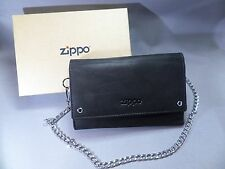 ZIPPO Biker Wallet - Leather with Chain - Mocha - Compartment - New - 755291