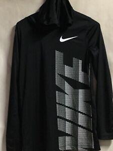 Nike Drifit Youth Xl TG EG Black Big Nike Logo Long Skeeves Hooded Activewear.W2