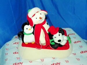 2007 HALLMARK HAPPY HOLIDAYS SINGINGS SNOWMAN ON SLED WITH DOG AND PENQUIN #5