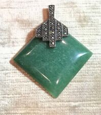 "Vintage STERLING SILVER 925 JADE MARCASITE PENDANT 2"" Long Beauty"