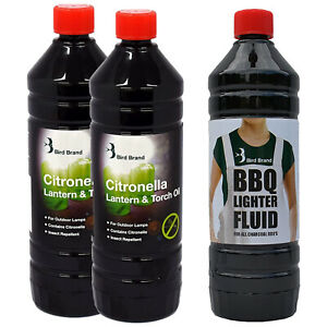 Barbecue Pack 2X Insect Repelling Cirtonella Lamp Oil Plus 1X BBQ Lighter Fluid