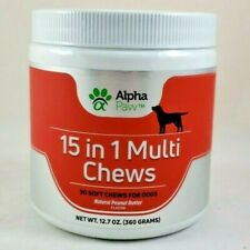 New listing Alpha Paw 15 in 1 Multi Chews Dogs 90 Soft Chews Peanut Butter Flavor Exp 9/2021