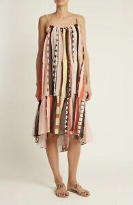 Apiece Apart Dafni Sweep Dress Size M-US8 Abstract Soleil Stripes Geometry Silk