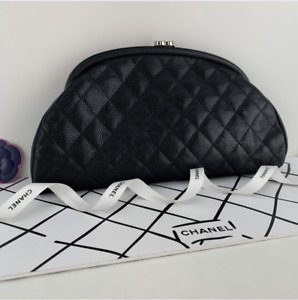CHANEL Quilted Caviar Leather Timeless Clutch in Black