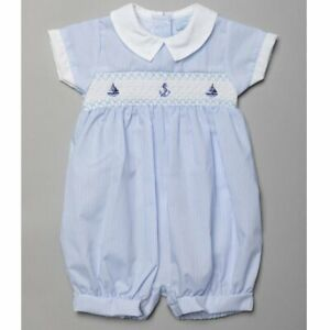 Baby Boys Spanish Style Smocked Romper Outfit Baby Blue White Stripe 0-9M