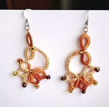 Brown, beige, handmade Earrings Tatted Frivolite Lace, Silver, Czech seed beads