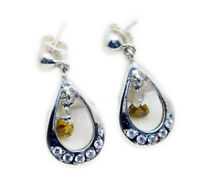 handsome Citrine 925 Sterling Silver Yellow Earring Natural gemstone US gift