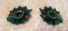 2 Lefton Green Holly Berry Candle Holders #717