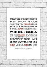 Arctic Monkeys - Fake Tales of San Francisco - Song Lyric Art Poster - A4 Size