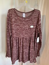 Time and Tru Maternity Size L XL Bordeaux Pink Peplum Stretch Sweater Shirt NWT