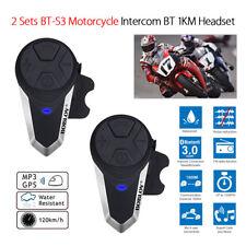 2x BT-S3 Motorrad Gegensprechanlage 1 KM Helm Lautsprecher Wireless Bluetooth FM