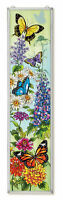 "AMIA STAINED GLASS 9"" X 40"" BUTTERFLY GARDEN BEAUTIFUL WINDOW PANEL  #42200"