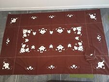 "Vintage Tablecloth & 12 Napkins Set * Embroidered Flowers Brown Large 65"" X 114"""
