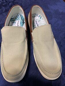 Men's sz 10 D M Tommy Bahama Calderon Venetian Tan Canvas Leather Shoes NWOB