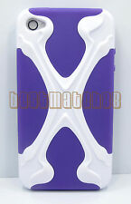 for iphone 4 4s hybrid soft and hard case 3D cool X design plus screen protector