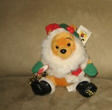 "7"" Disney Bean Plush Holiday 2000 Christmas Santa Pooh"
