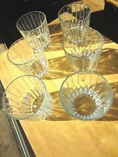 Vintage Cut Glass Old Fashion Whisky Glasses, set of 5 Waterfall design, heavy